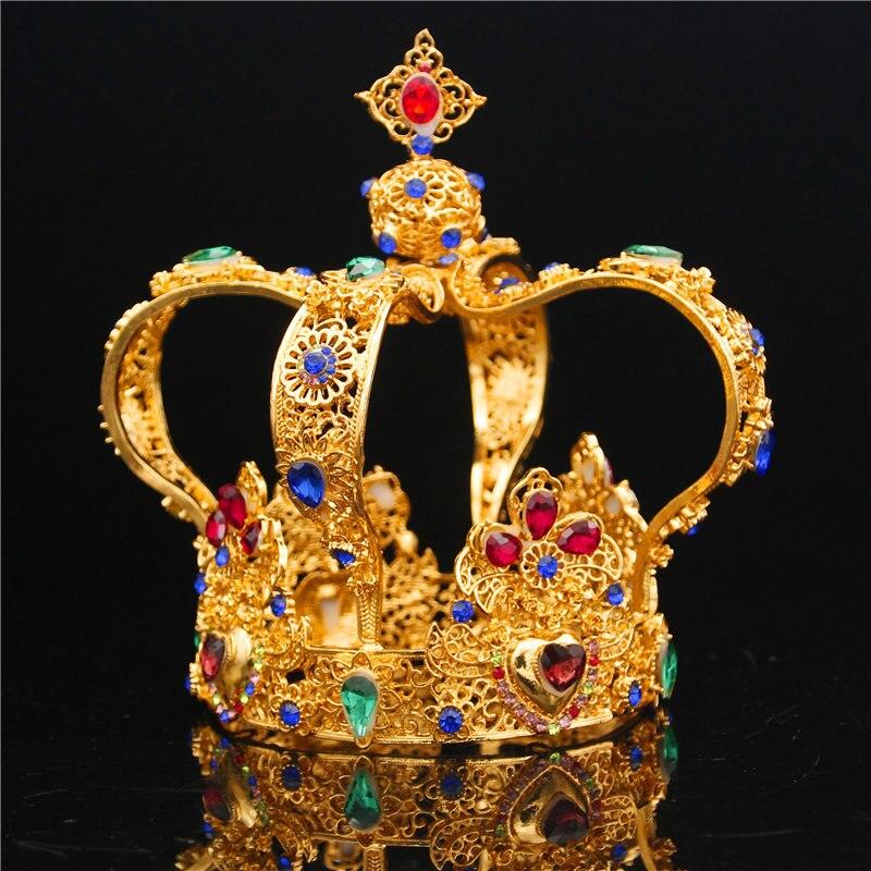 Barroca royal king coroa diadema masculina, enfeites de cabelo para mulheres, rainha, tiaras e coroa, joias de cabeça