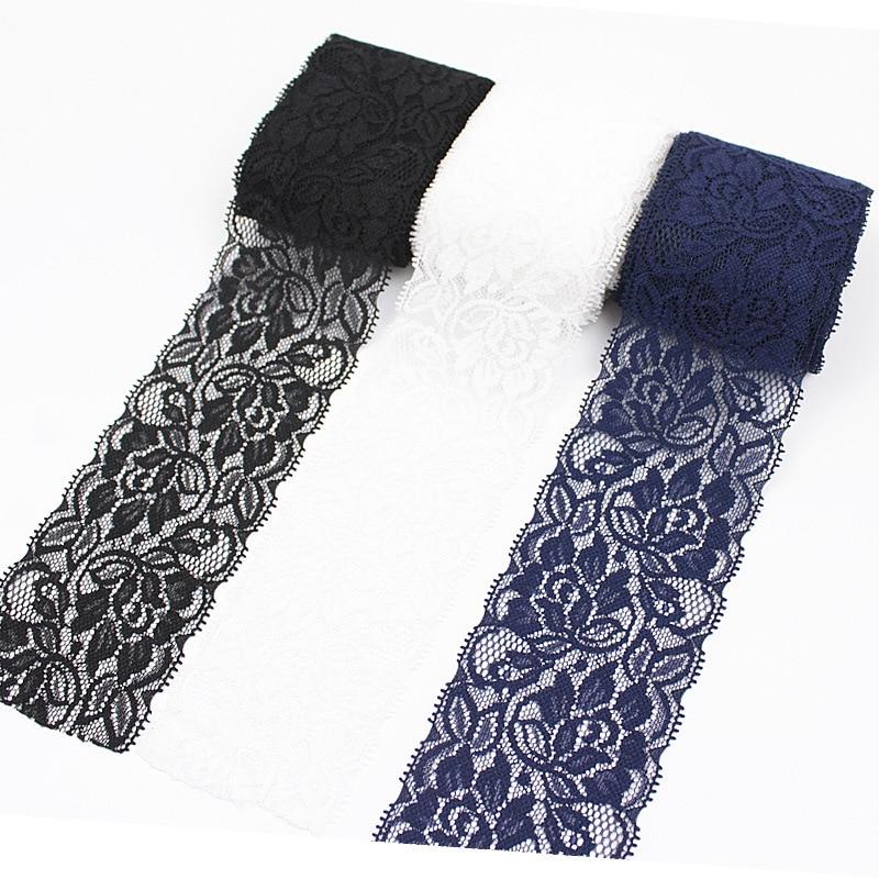 Fita elástica de laço de 6.5cm diy, roupa artesanal para costura e artesanato, suprimentos em branco, preto e azul aparar aparar