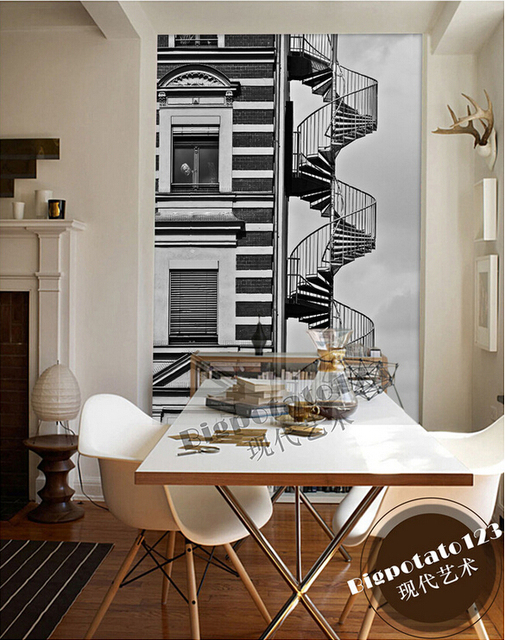 Custom 3D Large Mural,classic Black And White Simple House Stairs  Architectural Landscape,living