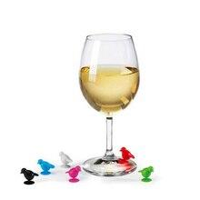 6 шт. набор силиконовых птиц чаша Кубок этикетки метки для бокалов для винной бутылки коктейли Напитки вечерние Выделенные распознавания Mark Barware