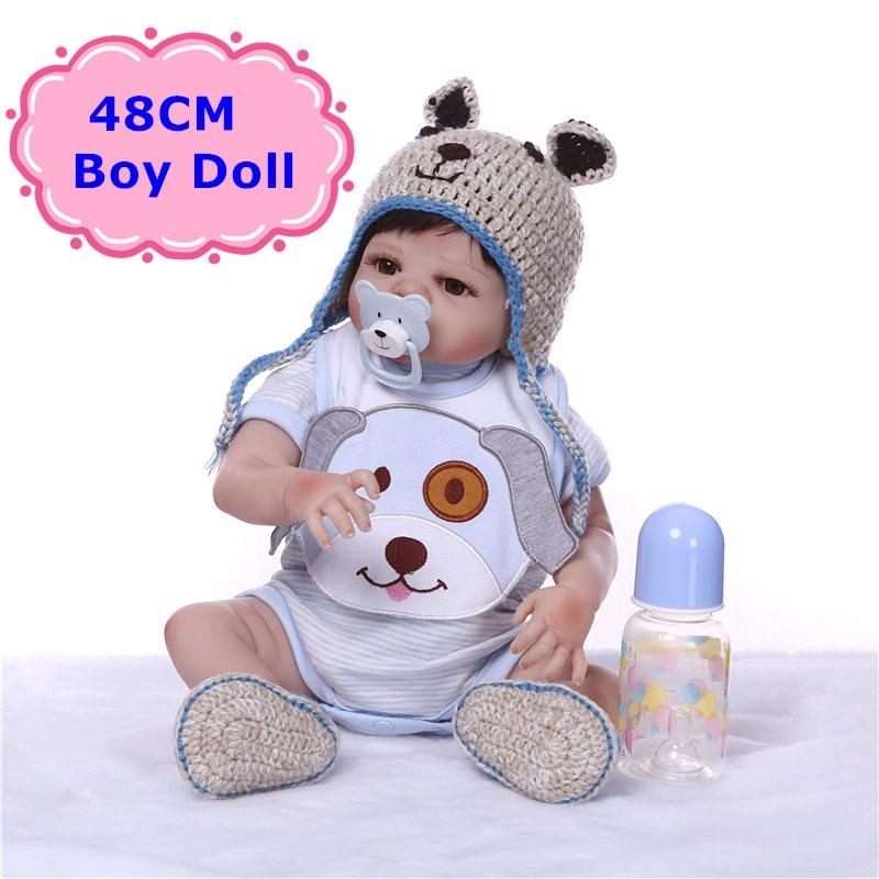 NPK Real 48CM Reborn Doll Handmade Full Silicone Bebe Reborn Girl /Boy Doll Boneca In Cute Clothes Fashion Baby Dolls For Child