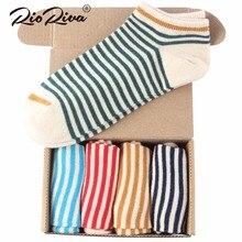 Rioriva 5 pairs/Lot US 5-11/EU 35-40 Stripe Funny Socks 2017 Fashion Cotton Ankle Chaussette Femmel Art Harajuku Free Shipping