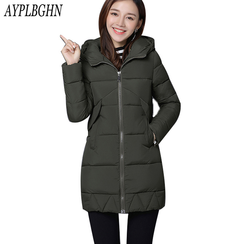 high quality 2017 New Winter Fashion Cotton Thick Women Jacket Hooded Women Parkas Coats Warm Parka Outerwear Plus Size 6L69 winter women s cotton jackets new fashion hooded warm coats solid color thicker casual tops plus size slim outerwear okxgnz a735