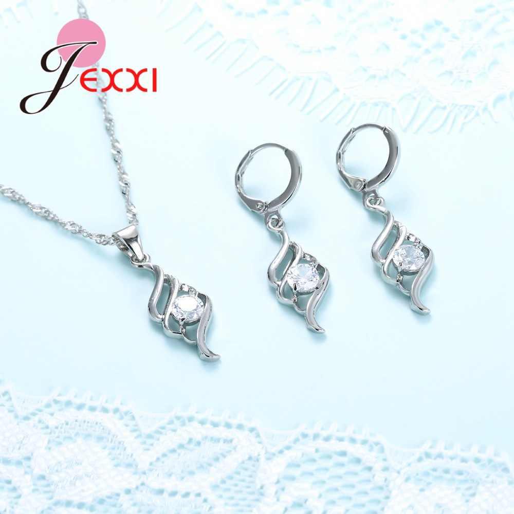 Großen Rabatt Frauen Mode Design Anhänger Ohrringe Halskette 925 Serling Silber Shinning Kristall Schmuck Sets Großhandel