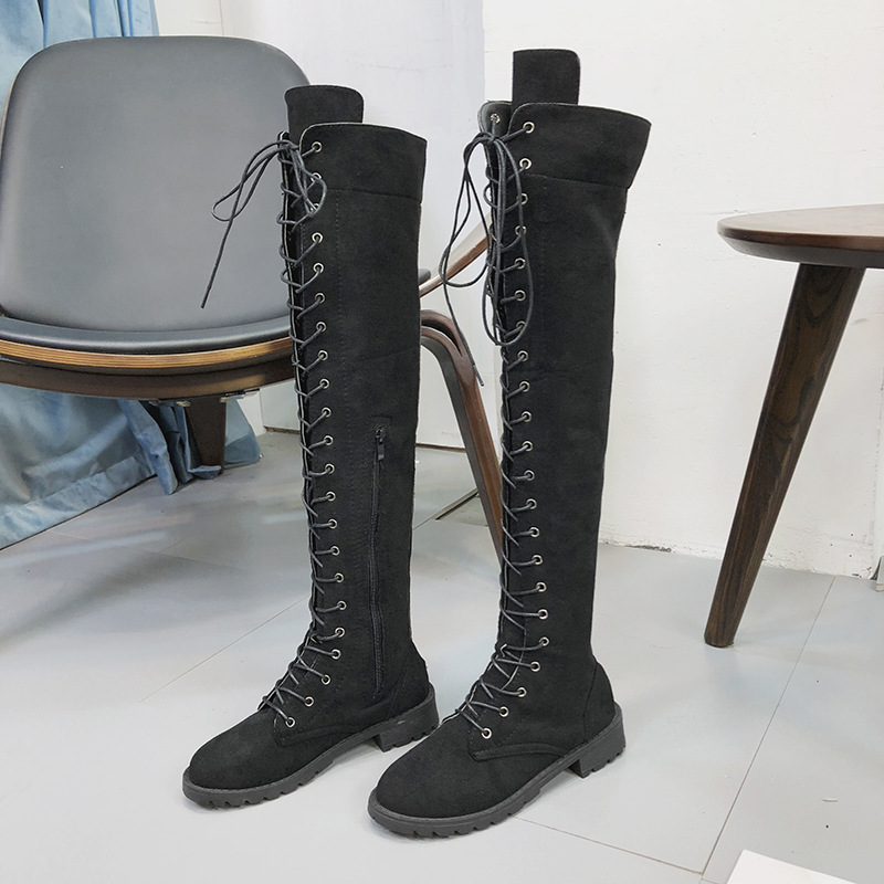 2018 autumn and winter new European and American large size boots with knees flat round head boots black ljj 1022 цена 2017