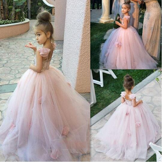 72f7c0e2d Pretty A-Line Flowers Girl Dresses Blush Pink Tulle Flowers Junior  Bridesmaid Gown Puffy Toto Baby Little Girls Dress LD1737