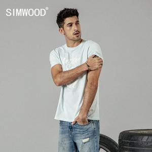 Image 2 - SIMWOOD 2020 summer new fashion letter print t shirt men vintgae 100% cotton tshirt Breathable top high quality t shirt 190223