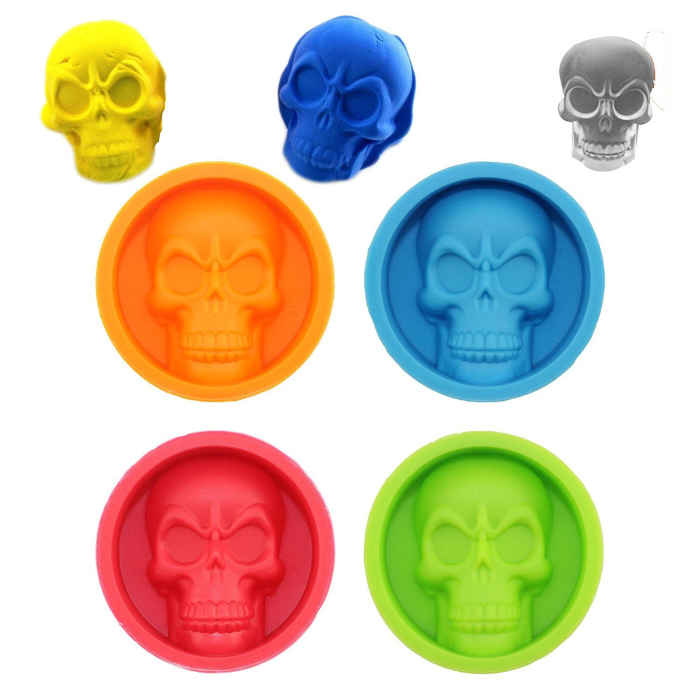 Molde de silicona 6 * 6 * 2 cm Creativo 3D Skull Ice Cube Tray Cake Fondant Pudding Chocolate Jelly Mould Sugarcraft Molde Herramienta de decoración