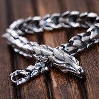 925 Sterling Silver Thai Vintage Pendant Thai Retro Men Male Jewelry Chian Dragon Bracelet CH059082