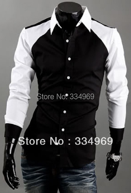 825938ee624 New Classic Color Matching Draping Design Men s Cultivate One s Morality  All Cotton Long Sleeve Shirt Black Blue