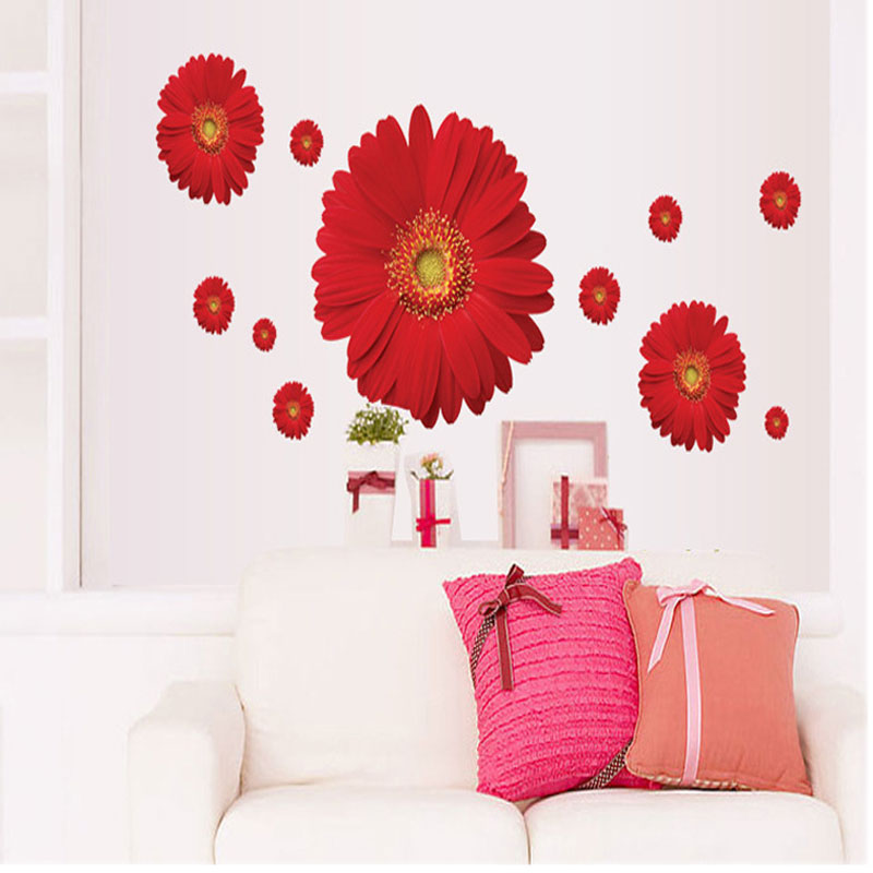 New Decorative Combination Diy Flower 3d Wall Stickers