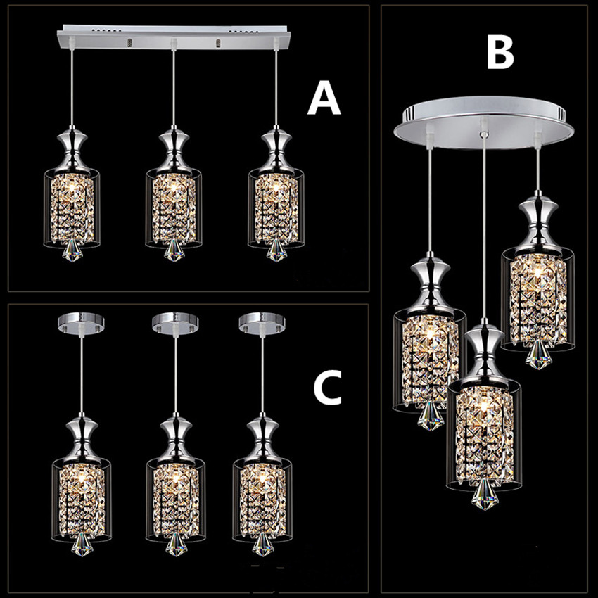 где купить LED modern fashion crystal chandelier three single head bar, restaurant lamps 220V white yellow light по лучшей цене