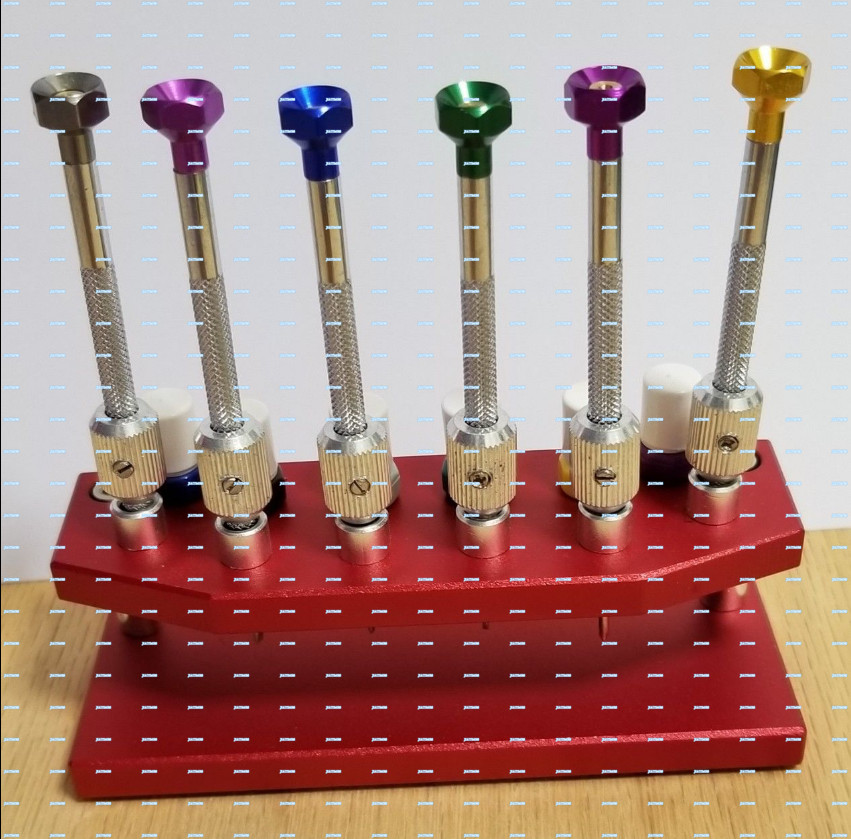 New ! Set of 6 Heavy Watch Screwdriver & Holder with Booster for Precision Repair / Eyeglass