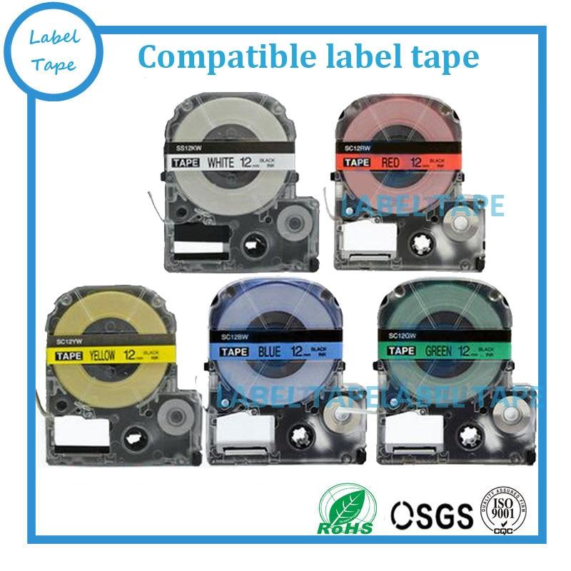 Doprava zdarma 3PK smíšené barvy 12mm páska LC-4WBN, LC-4WLN, LC-4YBP, černá na bílé, červené, žluté