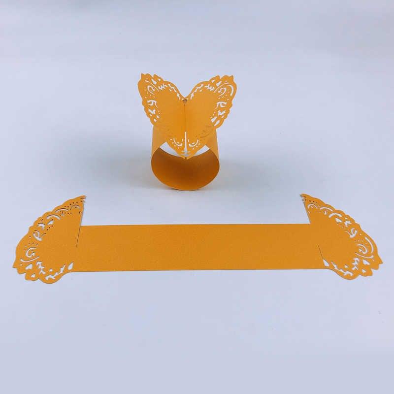 50 stücke Laser Cut Serviette Ringe Für Abendessen Mittagessen Tische Hause Hochzeit Herz Stil Papier Serviette Ring Hochzeit Tisch Dekoration
