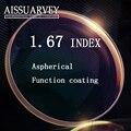De alta calidad óptica de la prescripción 1.67 lentes Super delgadas HC asférico TCM UV lentes de prescripción para la miopía lentes de resina opticos