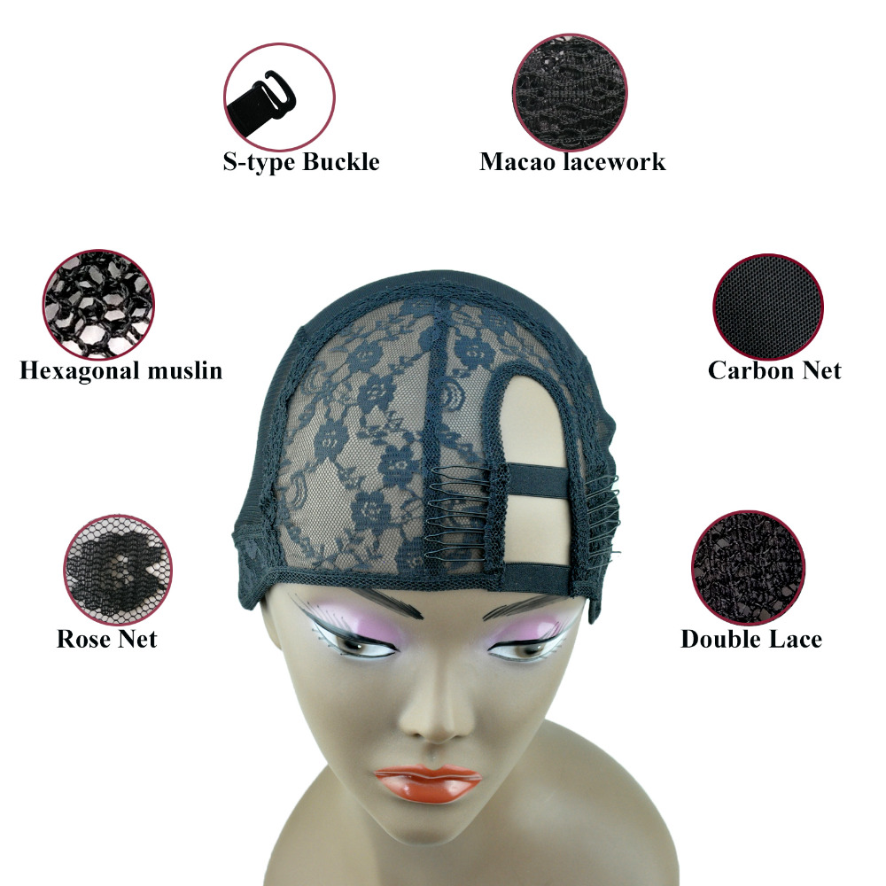 2 ķemmes M / L izmērs Tiesības U daļa aušana parūka vāciņa pamatne iekšpusē parūka matu pieaudzēšanas audu DIY melna krāsa