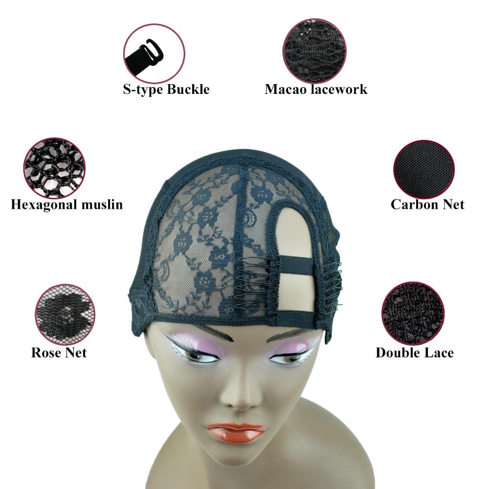 2 Kombiner M / L Størrelse Høyre U del veving parykk cap fundamentet indre indre for parykk gjør hår forlengelse weft DIY Black Color