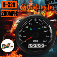 waterproof 200MPH GPS Speedometer gauge Pointer display Odometer 85MM GPS speed odometer with direction lights 9 32V