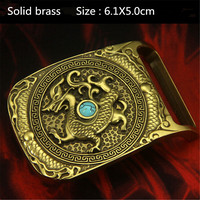 Retail New Fashion Men S Solid Brass Lined High Grade Turquoise Dragon Belt Buckle Suitable 4cm