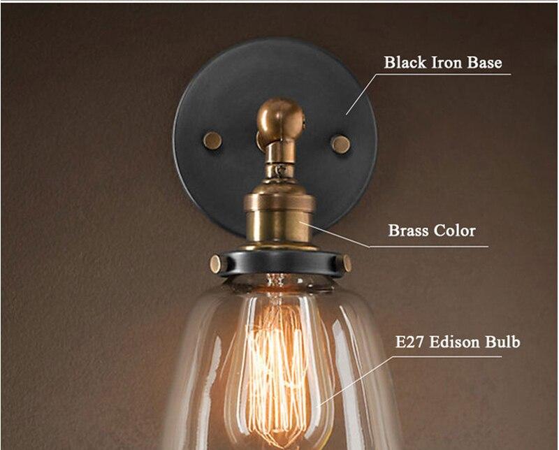 Décoration En Laiton Américain Abat Edison Jour Vintage Réglable Lampe Rétro Clair Chambre Loft E27 À Led Antique Fer Verre Applique vnmwO0N8