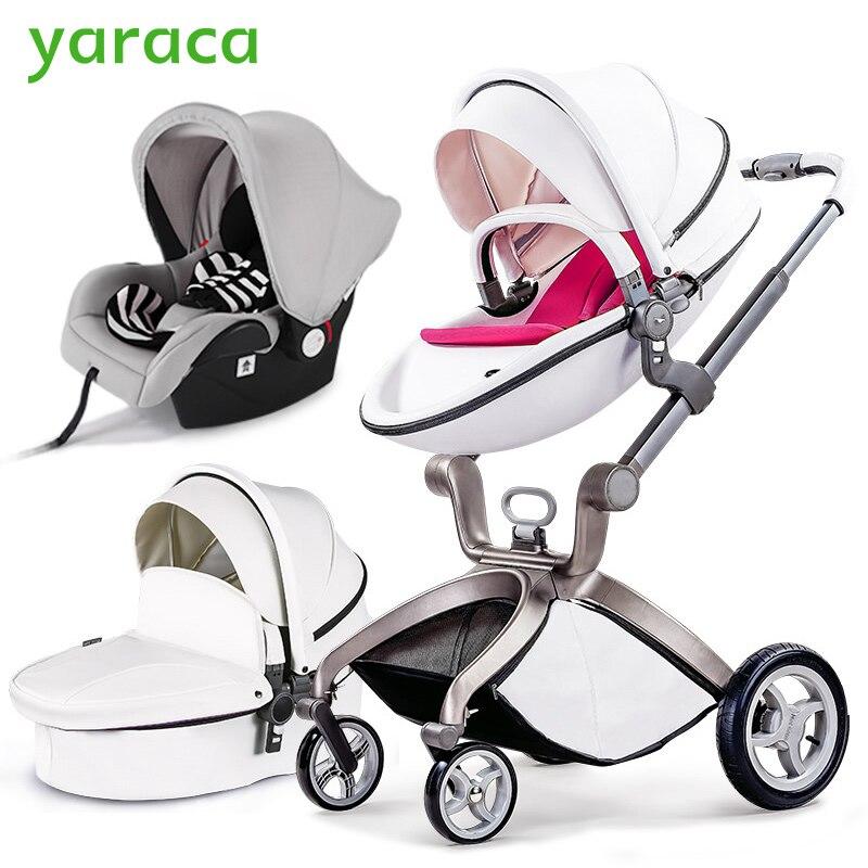 Роскошная коляска Высокая Пейзаж 3 в 1 Детские коляски с кроватки и автокресло для новорожденных Портативный складные детские коляски