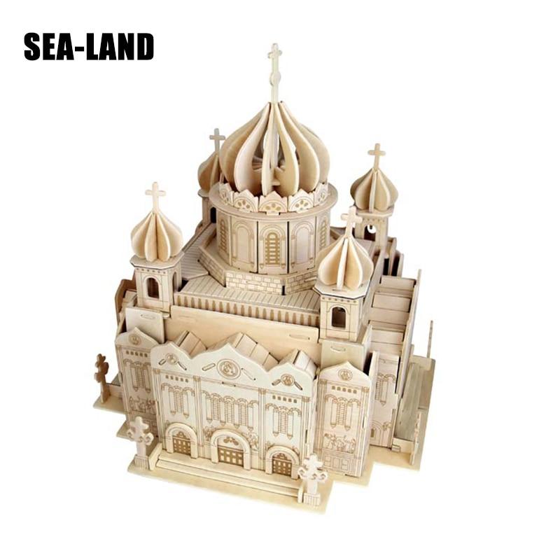 Enfants Jouets 3D BRICOLAGE Bois Puzzle Rétro Sauveur Cathédrale Modèle Série 204 pcs Montessori Jouet Éducatif Cadeau Pour Enfants En Bois jouet