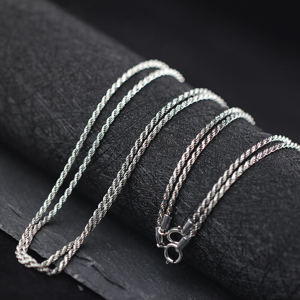 Thai Silver 925 Sterling Silver Rope Chains Necklaces Fit For Pendant Charm For Women Men Luxury S925 Jewelry Gift