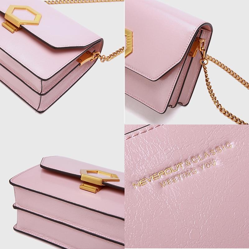 NEVEROUT Leather Crossbody Handbag Sac A Main Designer Women's Flap Bag Female Chain Strap Luxury Fashion Shoulder Bag Handbag