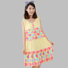 Lovely Nightgown Cotton Summer Nightshirts Women Cartoon Print Nightgowns Plus Size Women's Sleepwear Night Dress Sleepshirts