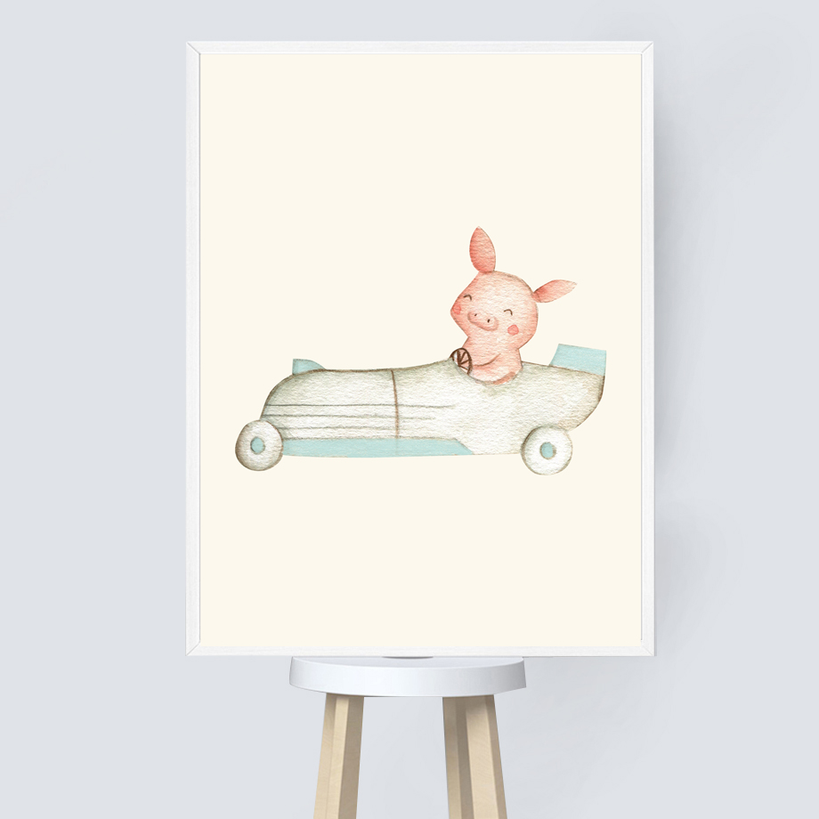 Wall Art Print Canvas Painting Animal Fox Bear Rabbit Mouse Pig Nursery Nordic Posters And Prints Wall Pictures For Kids Room in Painting Calligraphy from Home Garden