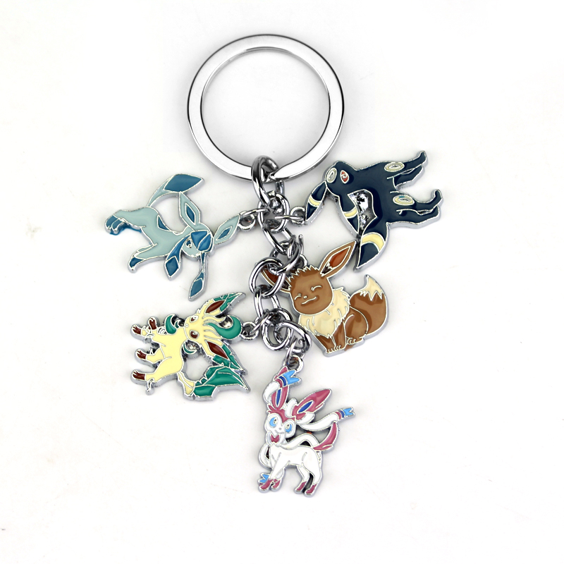 Anime Pokemon Pocket Monster Keychain Eevee Sylveon Umbreon Glaceon Leafeon Unisex Keyring Pendant For Fans Gift Collectable