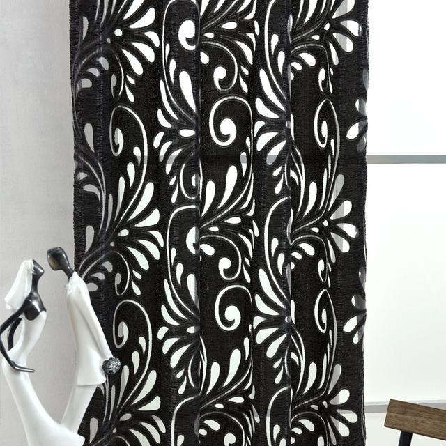 Ready made semi-blackout tende ciechi pannello tessuti per tende finestra viola tenda di finestra del soggiorno trattamento viola nero bianco
