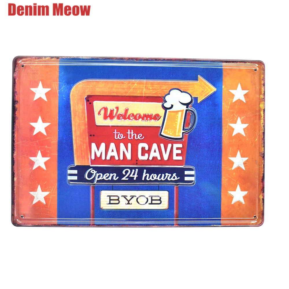 Man Cave Vintage Embossed Metal Tin Signs Bar Pub Cafe Decorative Plates Advertising Sign Wall Stickers Art Poster Plaque Ss7