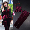 clothing sets women sexy sun-top tube top and pencil pants 2 pieces sets wine red velvet peplum halter tops and trousers suits