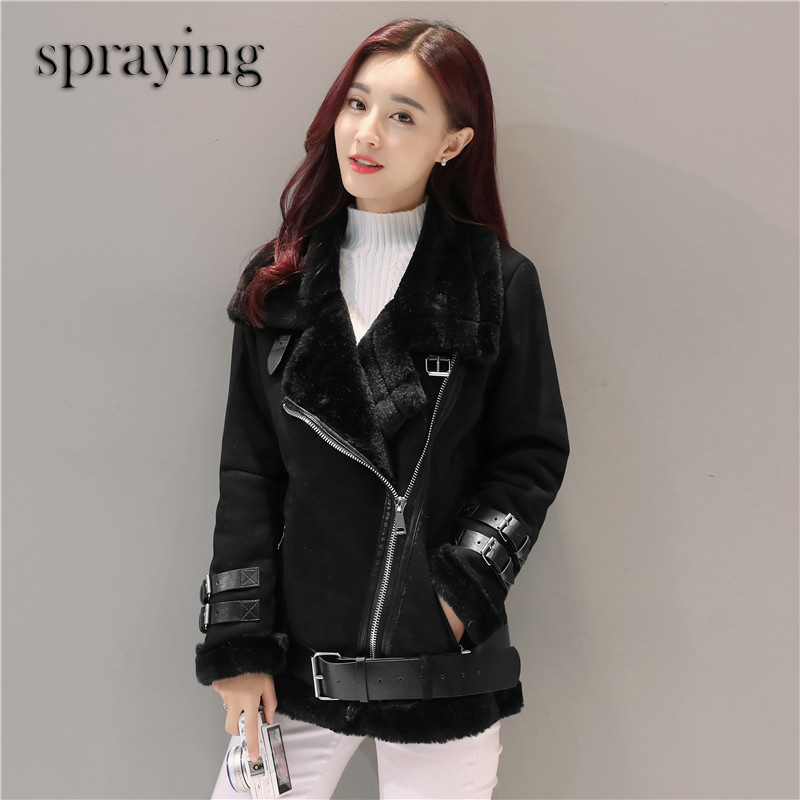 New Fashion fleece warm coat women short fur long sleeve woolen Double faced Fur Winter and