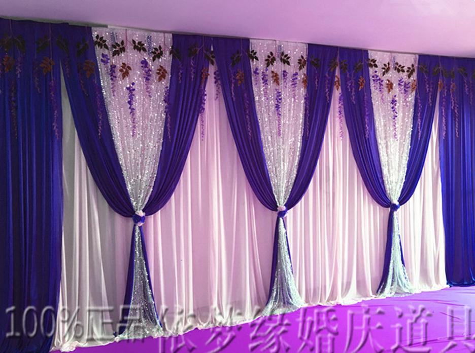 Ice Silk Wedding Backdrop Curtain Wedding Decoration Stage Backdround Pleats Curtain 10ftX20ft(3*6m) Silver Sequins Purple Swag