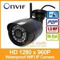 WI-FI 1280x960 P 1,3-МЕГАПИКСЕЛЬНОЙ Водонепроницаемый Ip-камера 24LED Открытый пуля Камеры Безопасности Ночного Видения ONVIF P2P CCTV Камеры с IR-Cut