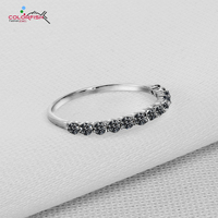 COLORFISH 925 Sterling Silver Black stone Thin Match Rings For Women Round 2mm Zircon Anniversary Wedding Eternity Band ring