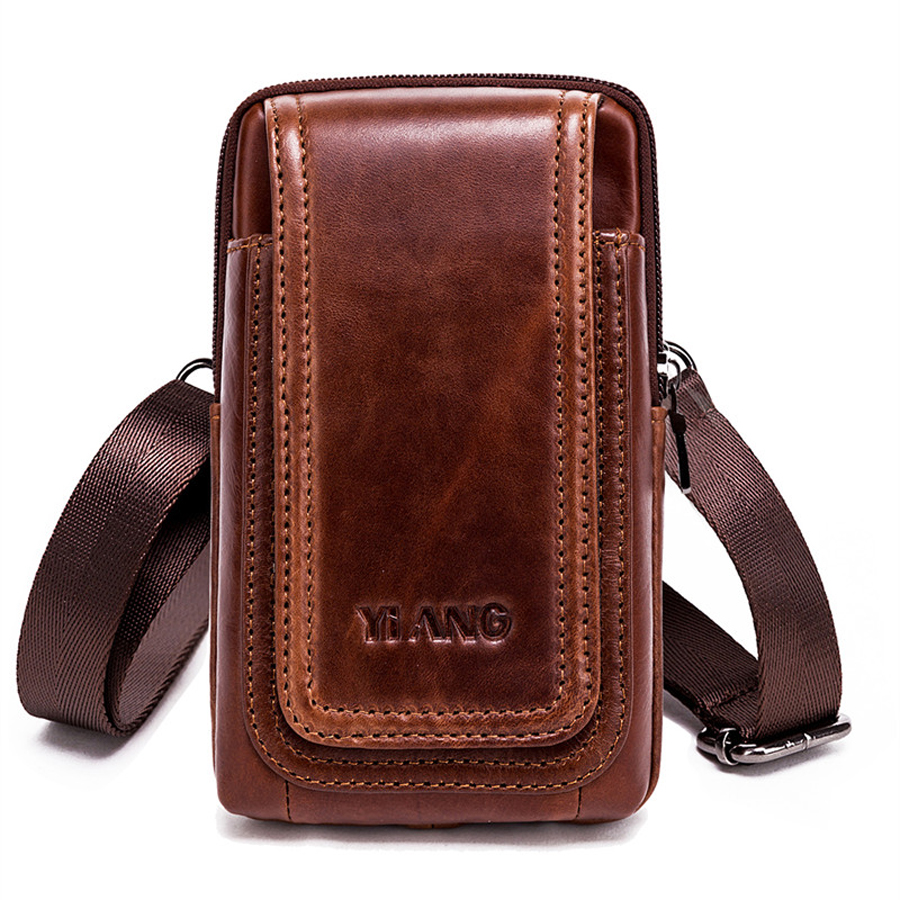 Brand Genuine Leather Mini Shoulder Messenger Bag Men's Waist Belt Pack Hip Bum Purse Cell/Mobile phone Case Cover For Ipone 100% genuine leather men 5 5 6 5 inch cell mobile phone case bags hip design belt purse high quality waist hook coin purse bag