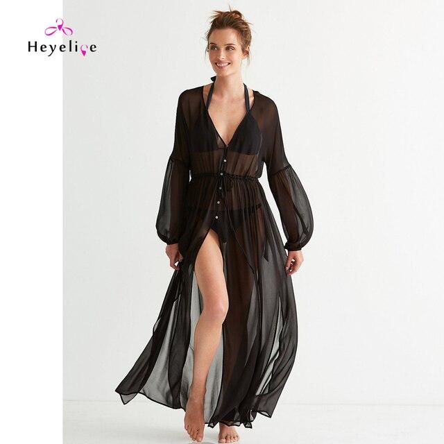 Schwarz Strand Us15 Tunika Frauen Badeanzüge Ups Bikini 38neue Abdeckung Kleider Lange Sommer Ärmel Bis Chiffon CsQhBtrdx