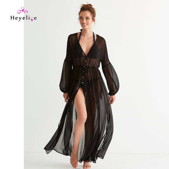 3b22de37abc New Long Women Bikini Cover-Up Black Chiffon Beach Dresses Long Sleeves  Summer Dresses Beach