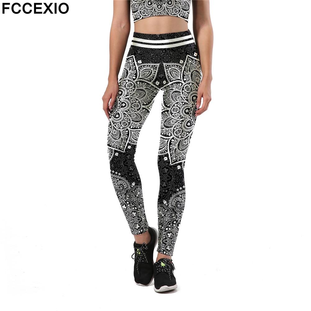 100% Wahr Fccexio Mode Aztec Ombre B Mandala Leggings Frauen Hohe Taille Plus Größe Sexy Legging Workout Digital Print Fitness Leggins Hell Und Durchscheinend Im Aussehen