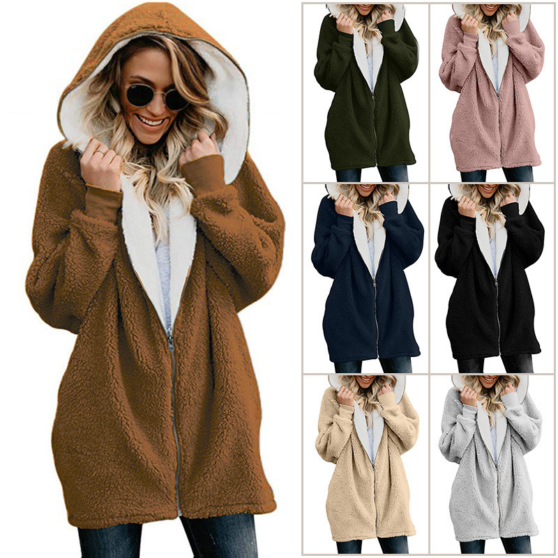 Plus Size Long Maternity Hooded Winter Plush Custom Warm Hoodie Maternity Wear Hoodie Zipper For Girl Pregnant Woman Clothing