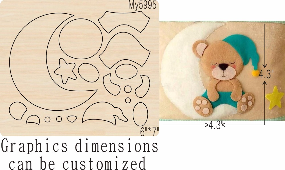 The bear and the moon new wooden mould cutting dies for scrapbooking Thickness 15 8mm