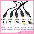 5 pcs 5 tipo 2.0 Portas USB Para 2.0*0.6mm 2.5*0.7mm 3.5*1.35mm 4.0*1.7mm 5.5*2.1mm 5 V DC Jack Barril Conector do Cabo de Alimentação Preto