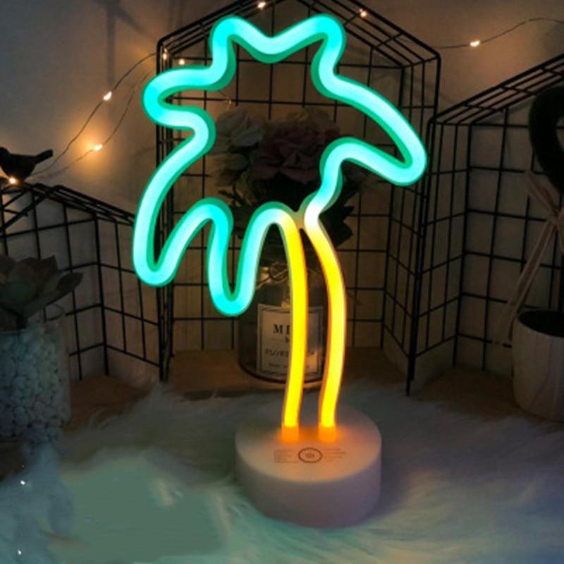 Купить с кэшбэком Neon Led Light Sign 8 Mode Holiday Christmas Party Home Decoration Bedroom Night Light Table Lamp Flamingo Moon Unicorn Tree