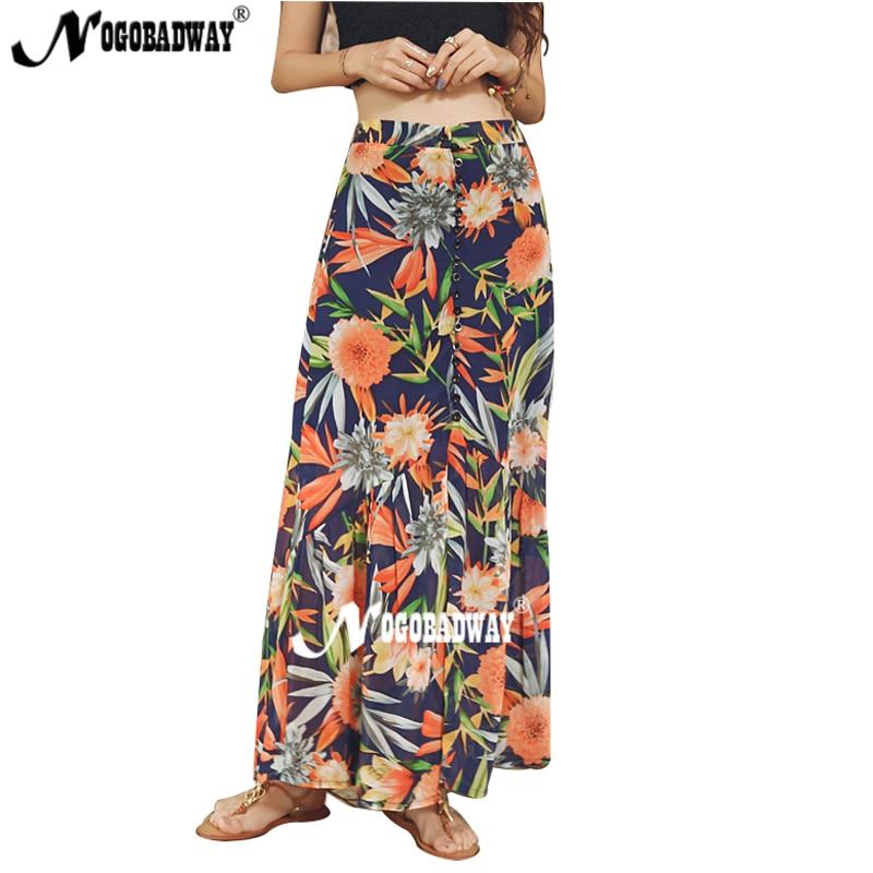 afb9e75d35 High quality split long skirt Women summer floral maxi skirt flower print  beach skirt boho bohemian mermaid skirt high waist new