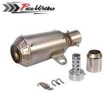 PEACWALKER - titanium Stainless Steel 51mm Motorcycle Slip On GP Exhaust Pipe System Silencer Muffler