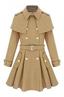 2017 Fashion Winter Womens Fit Trench Coat Wool Blend Jacket Parka Outwear Camel Navy Blue Size M XXL